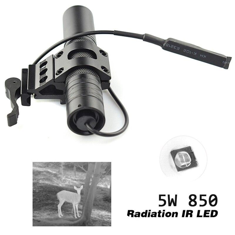 Activefire 5W 850NM IR lampe de poche LED LED torche de Vision nocturne 38mm lentille infrarouge lumière réglable torche Zoomable pour la chasse