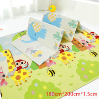 180x200x1.5cm Baby Climbing Play Mat Cartoon Reversible Portable Foldable Pad Xpe Puzzle Mat Floor Room Crawling Puzzle Mat