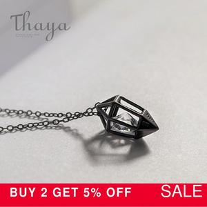 Image 2 - Thaya Diamond Heart Pendant Necklace s925 silver Black Chain Protect cubic zircon simple Dainty Jewelry for women Gift