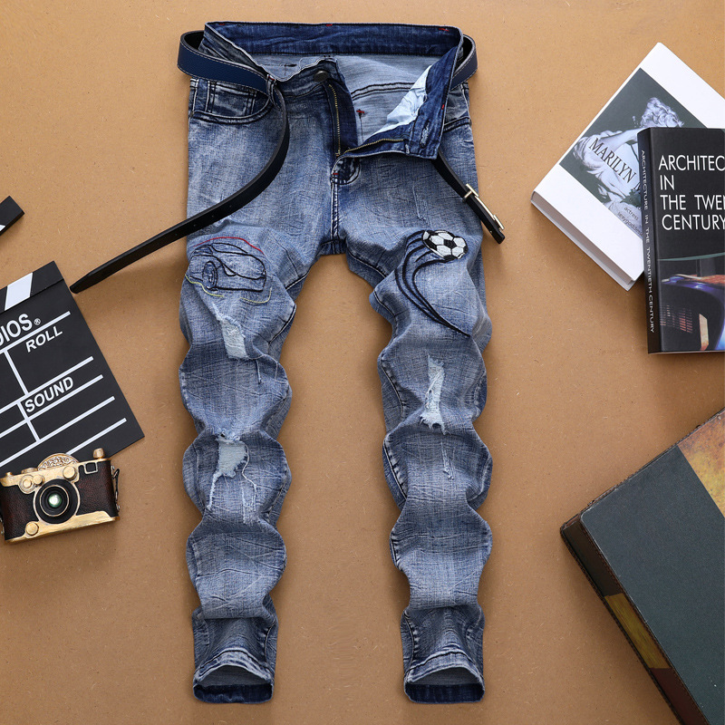 MEN'S WEAR Europe And America Men's With Holes Jeans Men Cool Embroidered Straight Slim Long Pants