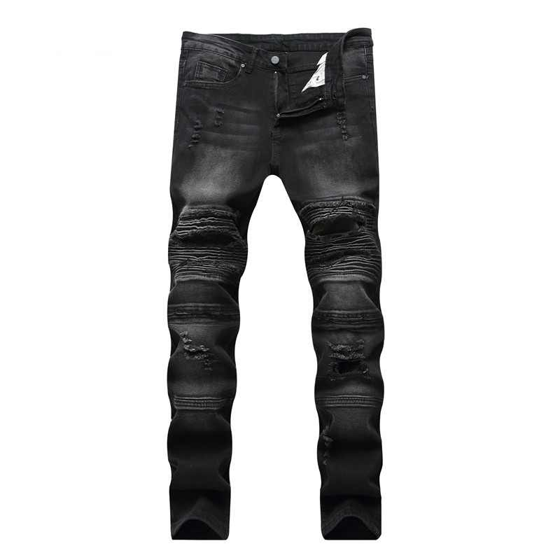 2019 neue Mode Jeans Hip Hop Moto Mens Designer Kleidung Neue Mode Distressed Zerrissene Dünne Denim Biker Jeans Dropshipping