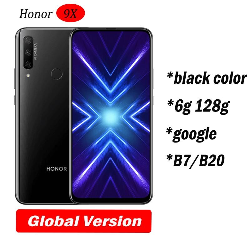 Honor 9x Smart Phone Global 6.59 inch Lifting Full Screen 48MP Dual Cameras 6GB + 128G GPU Turbo Black