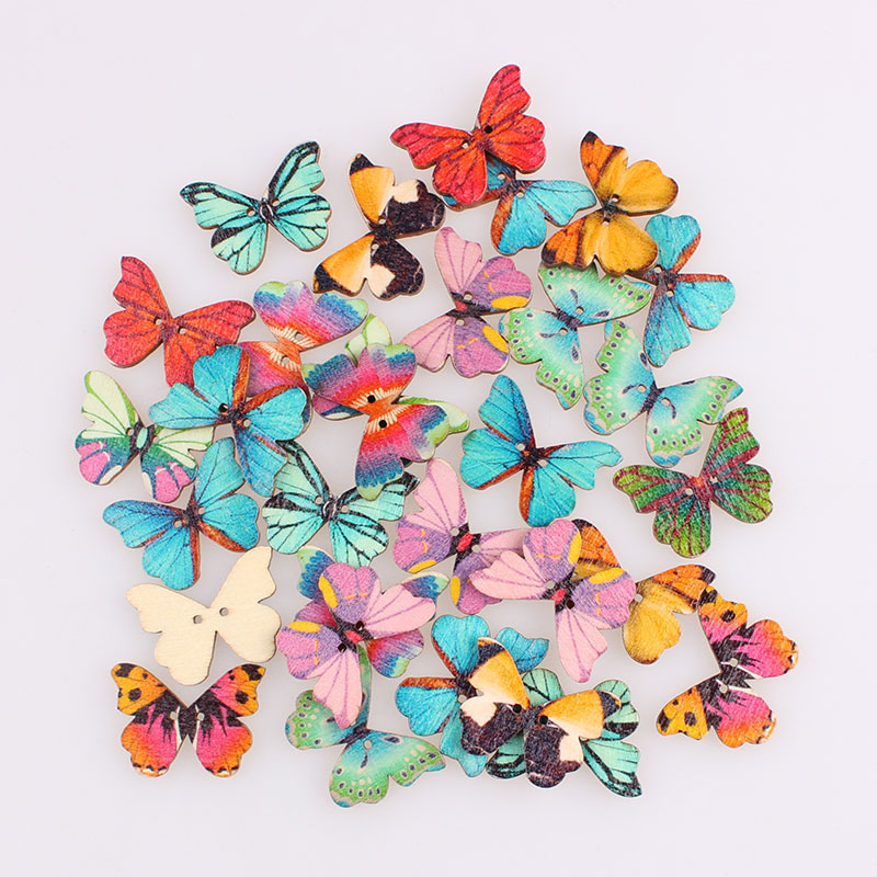 Pretty Butterfly Mixed 2hole Wooden Buttons Christmas Diy Decor Child Clothes Sewing Buttons Crafts Scrapbooking Accessories E
