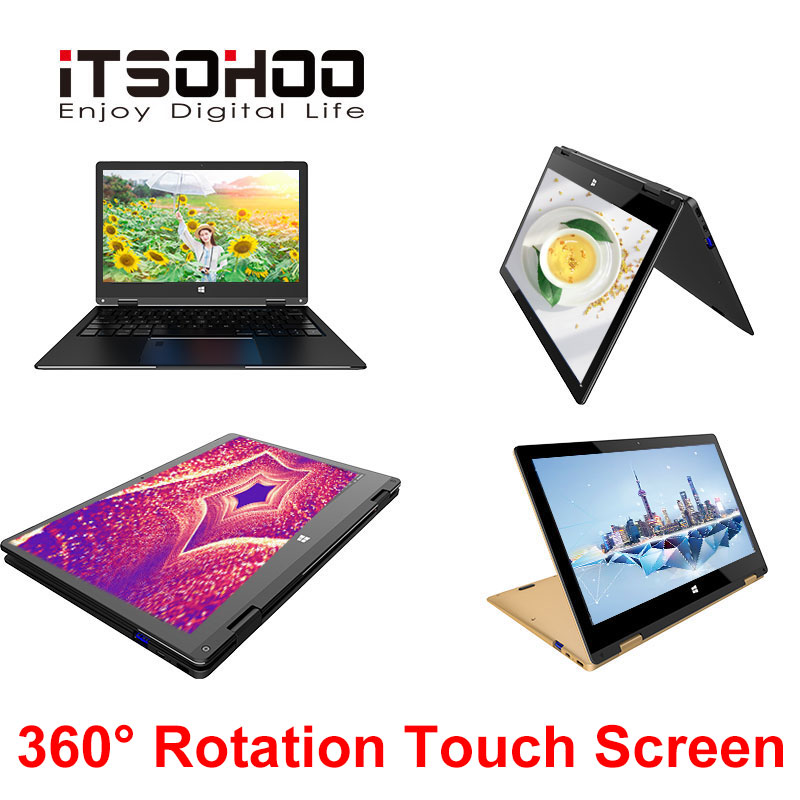 11.6 inch 2 in 1 Laptop Convertible Touch Screen IPS Mini Notebook Computer 320GB Ultrabook 5G Wifi 360 Degree Slim Netbook