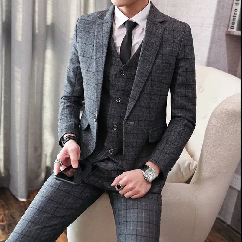 2020 Men's Gray Tweed Notch Lapel Suits Check Plaid 3 Pieces One Button Groom Wedding Tuxedos Slim Fit