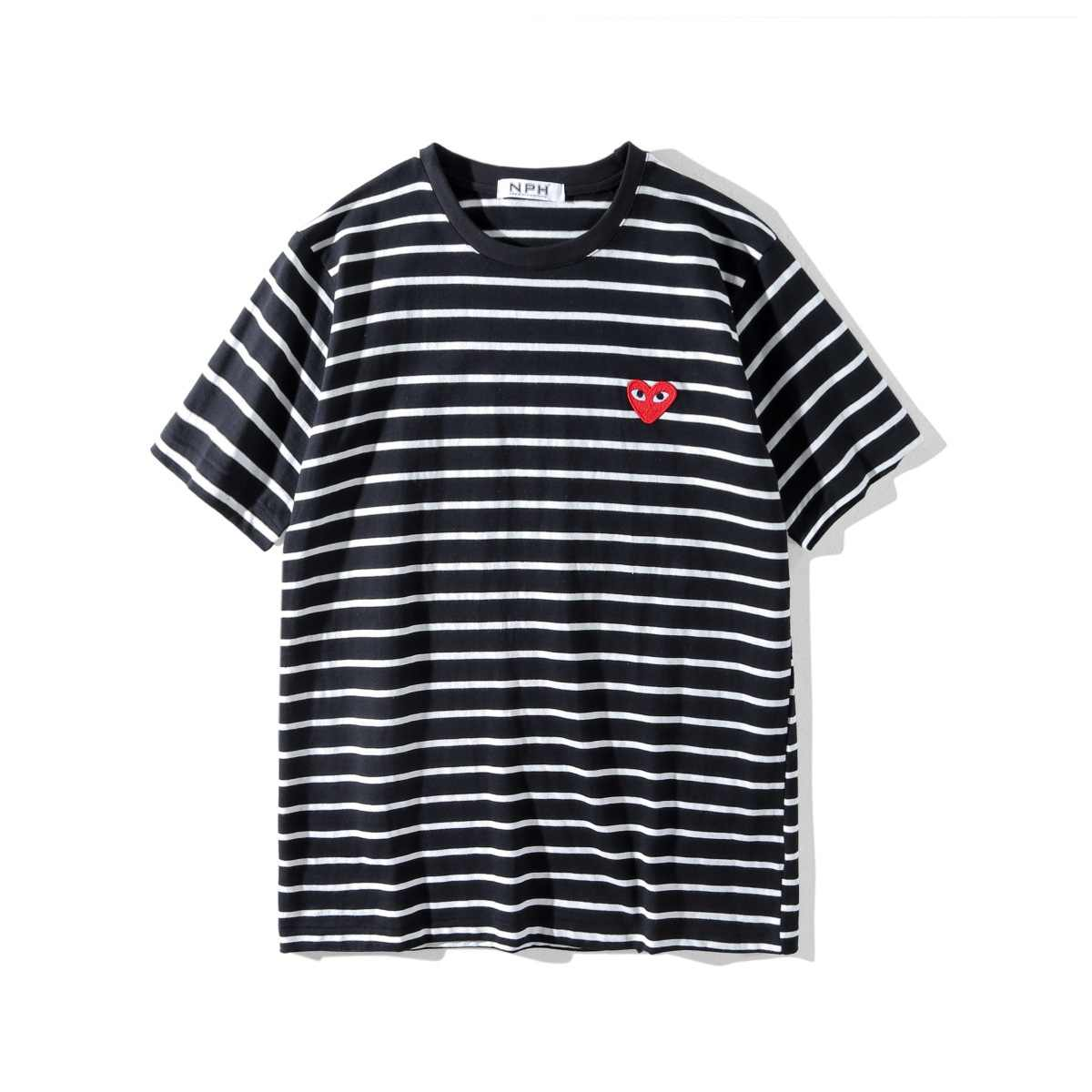 2018 New Style Foreign Trade Heart Stripe Short Sleeve Men's Women's Pure Cotton Straight-Cut Hipster Navy Shirt Half Sleeve T-s