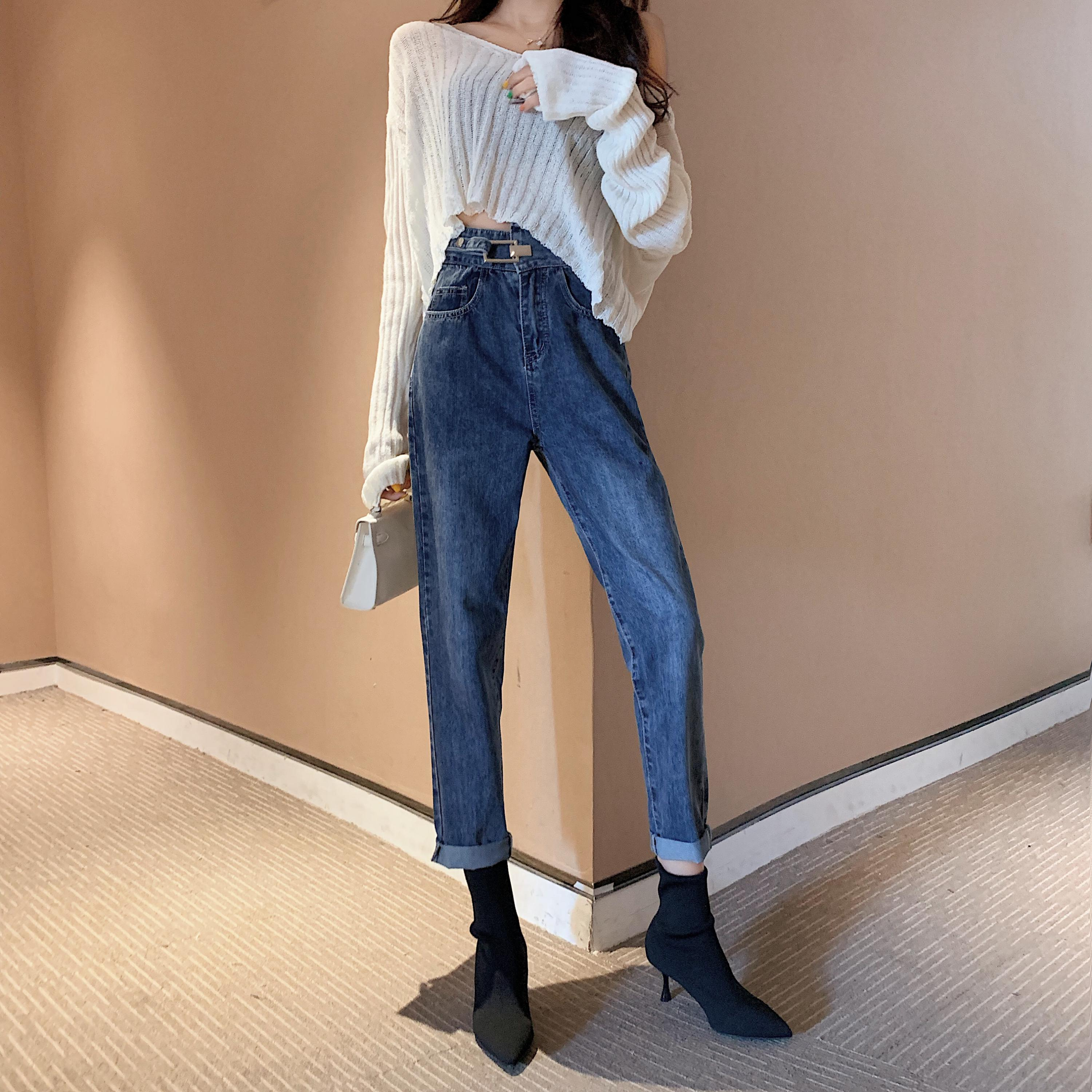High Waist Jeans Mujer 2019 Winter Casual Loose Chic Vintage Denim Jeans Ladies Blackgray Pocket Washed Korean Women Jeans