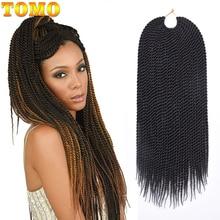 "TOMO Hair 30 ราก 14 ""16"" 18 ""20"" 22 ""Small Senegalese Twist Crochet ผม Braids ombre สังเคราะห์ Braiding Hair Extensions"