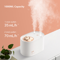 Ultrasonic Air Humidifier Capacity 1000ML Large 2 Mist Outlet USB Car Mist Maker Aroma Oil Diffuser Aromatherapy Humidifier Home