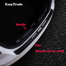 Car styling leather Rear Bumper Protector Sill Trunk Tread Plate Sticker For Hyundai Honda Civic 10th 2017 2018 Accessorioes car styling rear bumper trunk threshold door sill outer protector trim stainless steel for honda civic 10th sedan 2016 2017 2018