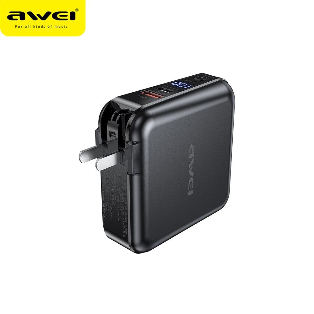 AWEI P48K внешний аккумулятор 15000 мАч 4 в 1 Многофункциональный светодиодный дисплей внешний аккумулятор встроенный 2 кабеля Lightning Type C