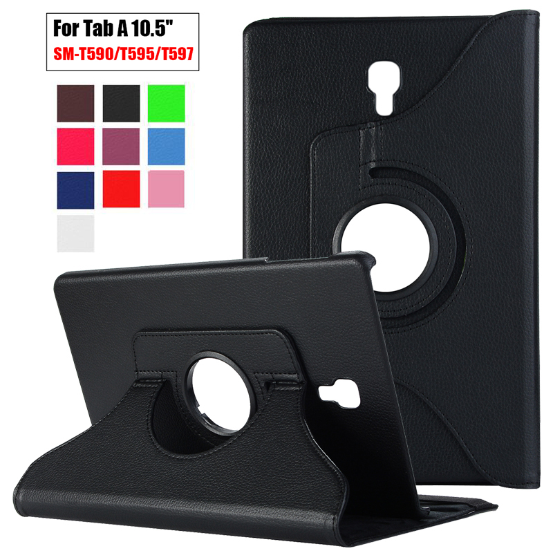 360 Rotating PU Leather Flip Cover For Samsung Galaxy Tab A 10.5 2018 T590 Case SM-T590 Tablet Stand Folding Folio Case Fundas
