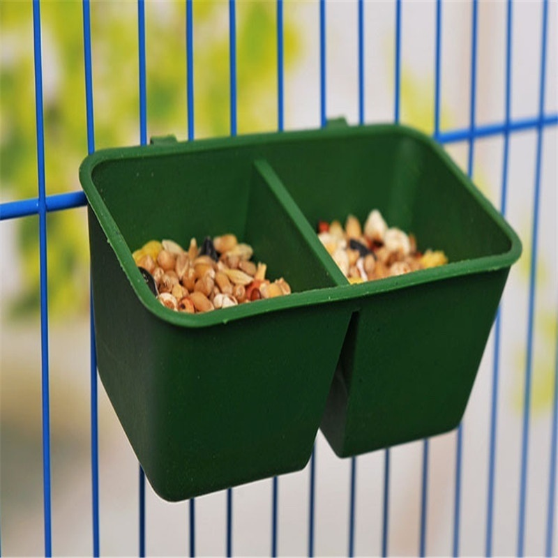Plastic square bird parrot starling feeder house pet cage water food feeding