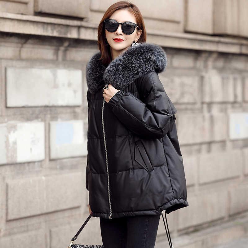 2020 prawdziwa skórzana kurtka puchowa kobiety zimowa kurtka z owczej skóry z kapturem koreański Plus Size damskie kurtki skórzane luźne KJ3520