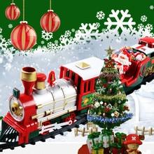 Игрушечный поезд, набор с огнями и звуками, Рождественский поезд, набор железных дорожек, игрушки на батарейках, Рождественский поезд, подарок для детей GK1125