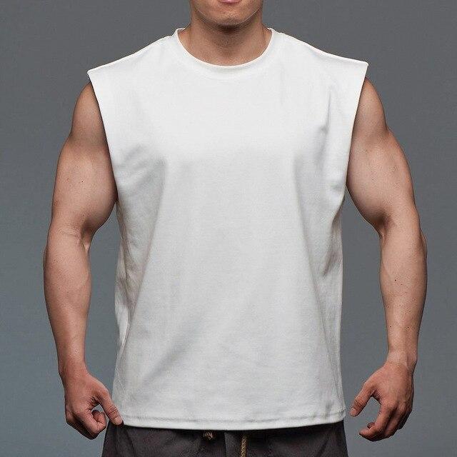 Men Tank Top Broad Shoulder Vest Casual Loose  Mens Crop Top Workout  Exercise Clothing Sleeveless Shirt 2