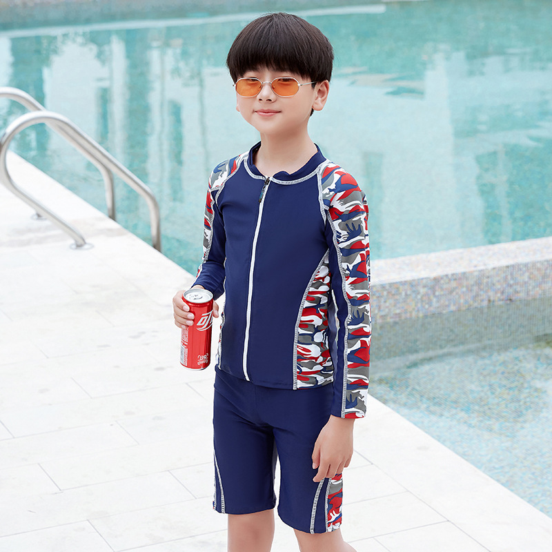 Big Boy CHILDREN'S Swimwear Boy Students Holiday Long Sleeve Boxers Split Type Conservative Sun-resistant Quick-Dry Swimwear