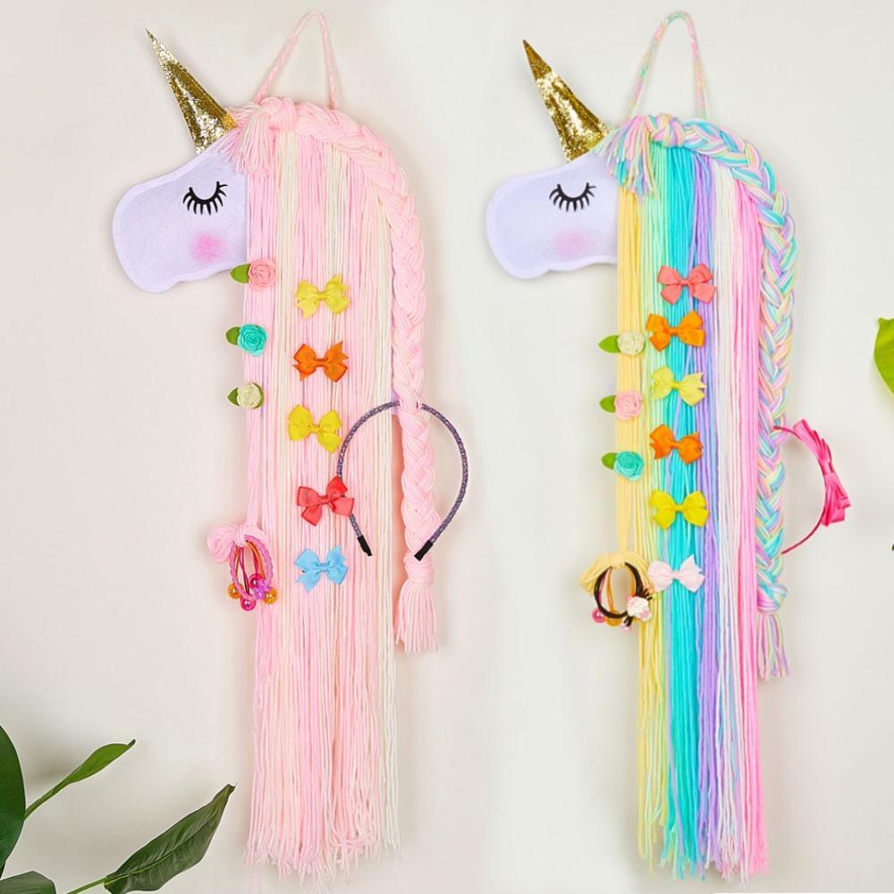 Hair Bows Holder Storage Belt For Girls Hairband Organizer For Kids Girl Long Hanging Holder HairClips Decoration As Gift