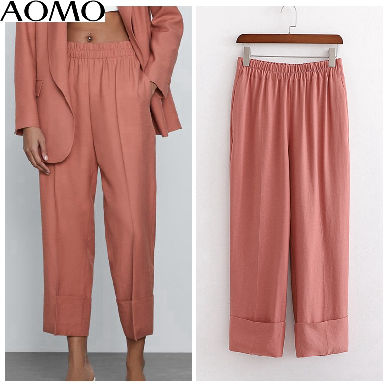 AOMO 2020 Fashion Women Solid Suit Pants Trousers Strethy Waist Pockets Buttons Office Lady Pants Pantalon 1D203A