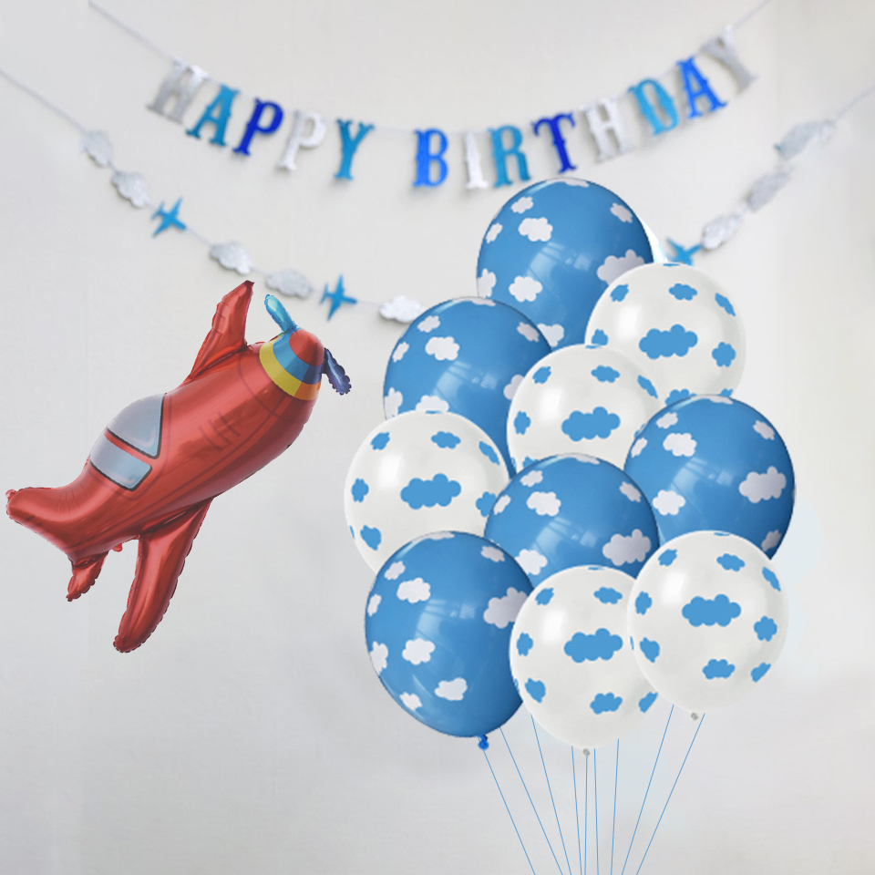 1Set Blue White Cloud Balloons Airplane Boy Baby Shower Ball Kids Happy Birthday Universe Space Theme Decoration Home Supplies image