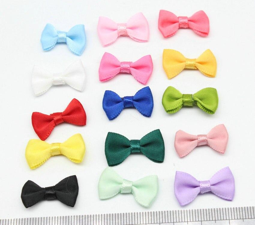 80pcs Mini Fabric Ribbon Bow Tie/Tiny Satin Bows 20mmx12mm/Mix Hair Accessory Jewellery Making Wedding Favor Embellishment