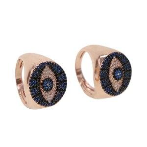 Розовое золото, цвет черный и синий камень, деликатная фабрика, недорогая бижутерия оптом, кольца «злой глаз», минималистичное милое кольцо