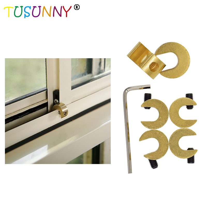 TUSUNNY 4 Pcs Safety Sliding Brass Window Lock Baby Safety Window Lock For Child Security Baby Safety Lock Sliding Door