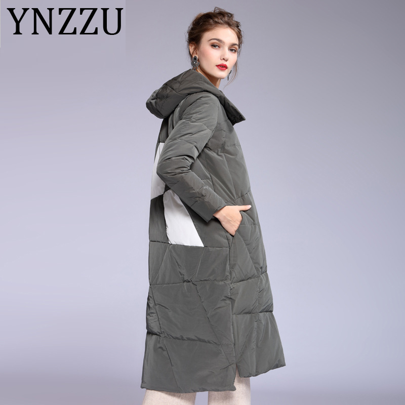 YNZZZU Newest Fashion 2019 Winter Jacket Female long Single Breasted Print 90% White Duck Down Coat Hooded Warm Outwear A1143