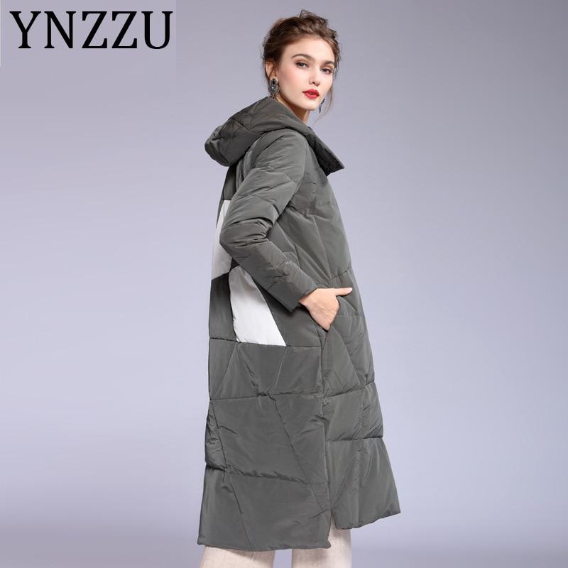 YNZZZU Newest Fashion 2019 Winter Jacket Female long Single Breasted Print 90% White Duck   Down     Coat   Hooded Warm Outwear A1143