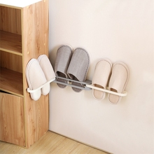 Plastic Shoe Rack Three-layer Foldable Bathroom Wall Hanging Free Punch PP Slippers Porch Bed Room Organizer