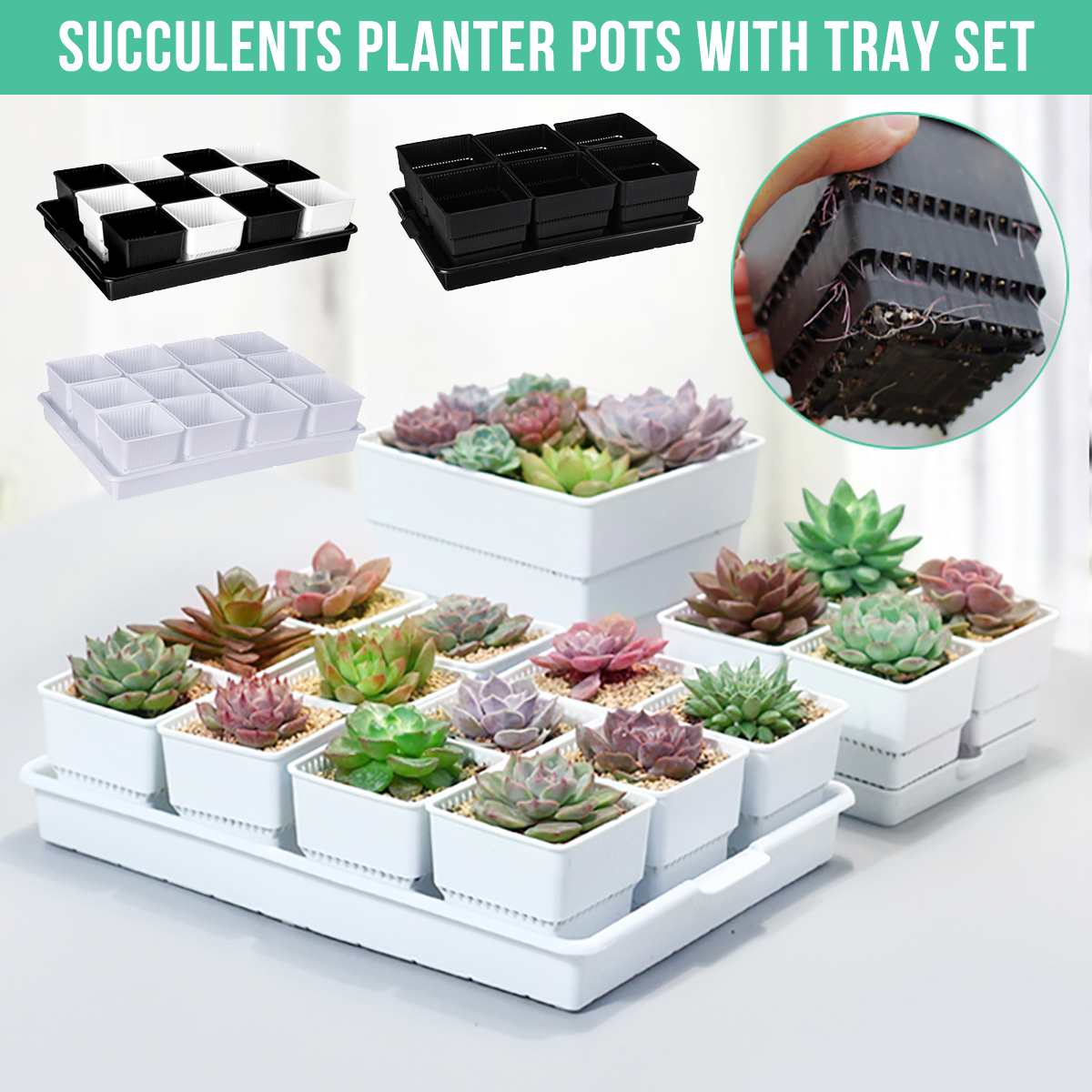 6/12/15 Pcs/set Square Plastic Succulents Planter Pots With Tray Set For Nursery Cactus Plant Pot Garden Supplies