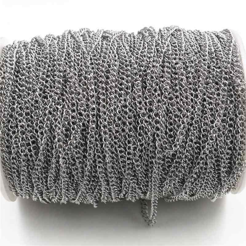 5 metros/lote nunca se decolora cadenas de collar de acero inoxidable a granel para bricolaje accesorios de joyería materiales de fabricación suministros hechos a mano