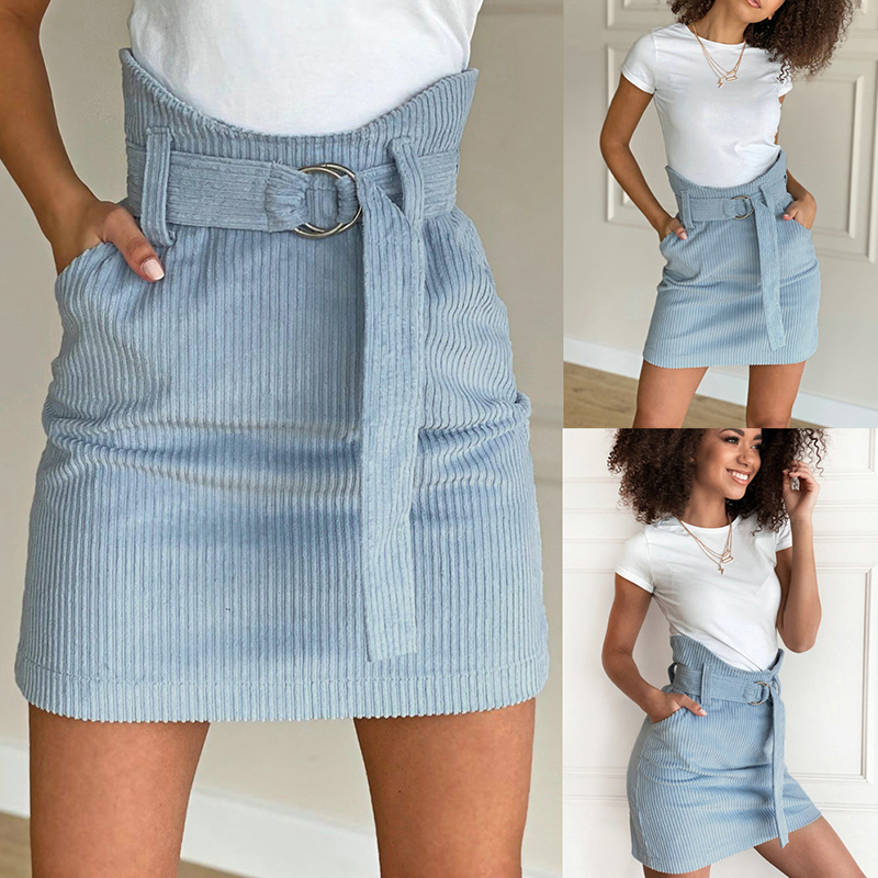 Fashion Women  Blue Irregular Skirts Sexy High Waist Tunic Bandage Lace Up Asymmetrical Slim Pencil Skirt Women Mini Skirt