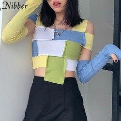 Nibber Sexy Off Schouder Patchwork Vrouwen Croptops Mode Gebreide Straat Tees Ondersteunende Afneembare Handschoenen Slanke T-shirts Mujer