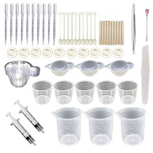 66 pçs de cristal cola epoxy resina molde kit diy artesanato jóias fazendo ferramentas com copo medição silicone copos de mistura pinça