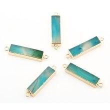 Pendentif rectangulaire en cristal, pierre naturelle, connecteur à Double trou, pour la fabrication de colliers ou de bijoux, taille 45x10x6mm