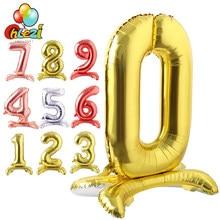 Nueva llegada 32 pulgadas soporte de número globos de papel de aluminio de plata de oro rosa Globo Rojo boda decoraciones para fiesta de cumpleaños juguetes de los niños de la ducha