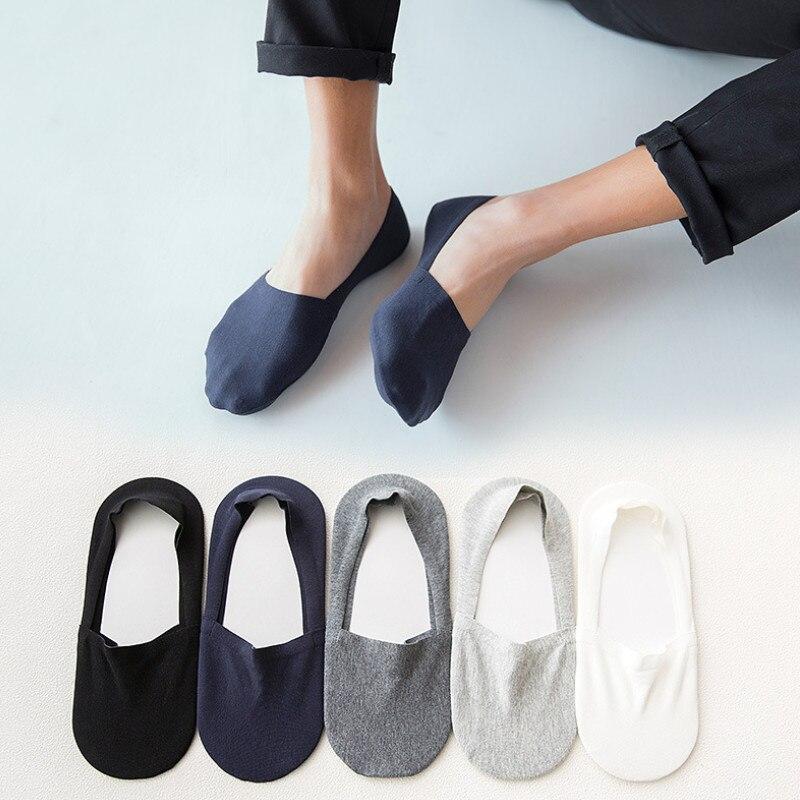 5 Pair Mens Socks 100 Cotton High Quality Male Silicone Non-slip Boat Socks Seamless Invisible Happysocks  24