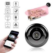 Wifi câmera mini ip hd1080p segurança em casa sem fio pequeno cctv infravermelho visão noturna detecção de movimento slot para cartão sd áudio v380 app