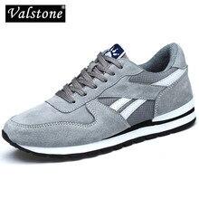 Valstone Lederen Sneaker Voor Heren Lente Casual Schoenen Ademend Outdoor Wandelschoenen Licht Gewicht Rubberen Zool Grijs Blauw