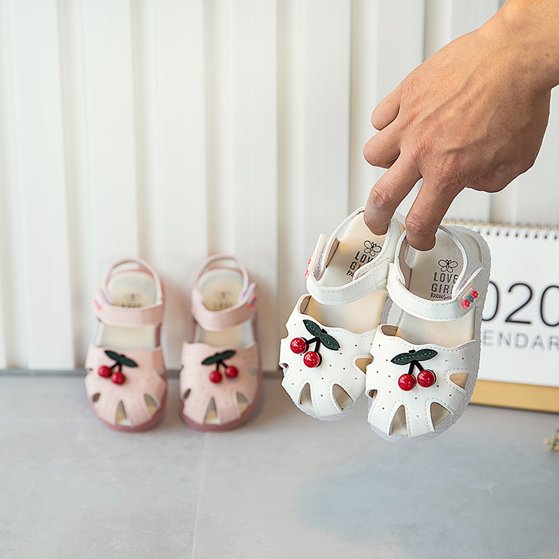 Girls Sandals Lovely Cherry Baby Shoes Fashion Children's Beach Shoes Non-slip Kids Sandals