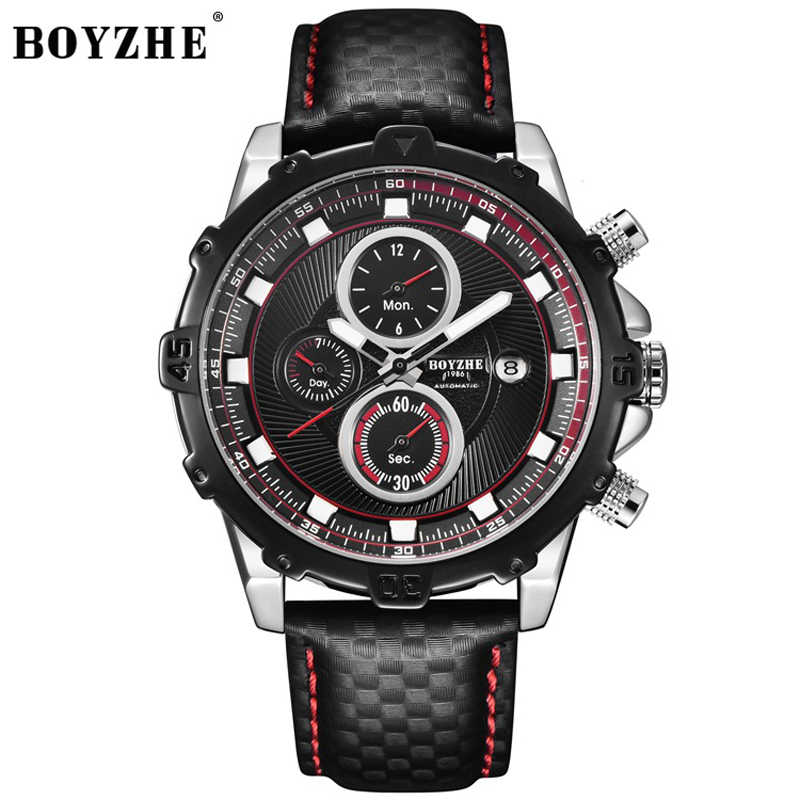 BOYZHE автоматические механические мужские часы лучший бренд класса люкс водонепроницаемый Дата Календарь Луна кожа наручные часы Relogio Masculino 2019