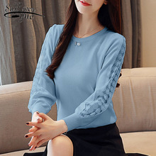 Casual renda sólida roupas femininas elegantes 2019 outono moda feminina blusas de manga longa o pescoço feminino topos blusas mujer 6234 50