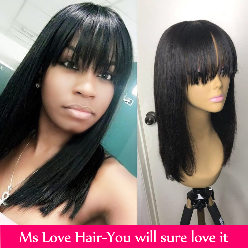 Perruques de cheveux humains avec frange droite courte brésilienne perruque 14 16 18 pouces perruque naturelle pour les femmes noires Non Remy perruques Ms love