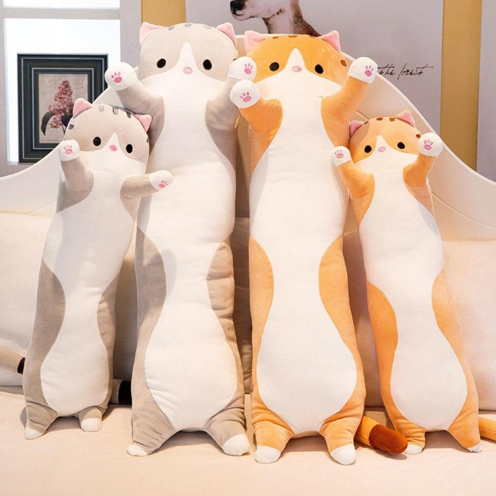 50/70/90cm Cute Plush Cat Doll Soft Stuffed Kitten Pillow Doll Toy Gift For Kids Girlfriend Neck Headrest Pillow