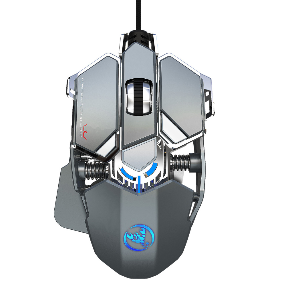 HXSJ New Mechanical Wired Gaming Mouse 9 Key Macro Definition 6400 DPI Color Backlit Game Player Computer Peripheral PC Black