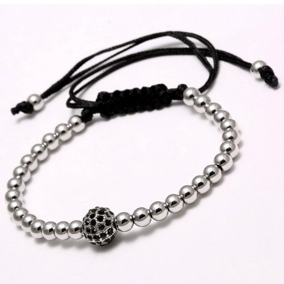 Copper Bead Woven Bracelet Hiphop Rock Street Culture Copper Alloy Bead Woven Chain Bracelet Men Fashion Trendy Jewelry Gift 2