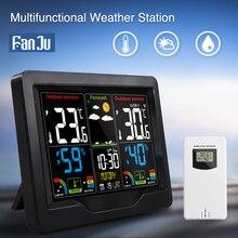 Цифровая уличная Метеостанция FanJu с термометром, гигрометром, будильником, беспроводной датчик, календарь, удобные настольные часы