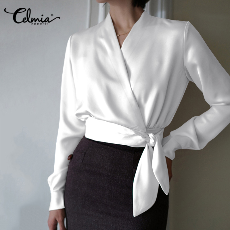 Women White Blouses Elegant OL Satin Shirts Celmia 2020 Fashion Long Sleeve Sexy V Neck Party Tops Belted Casual Office Blusas