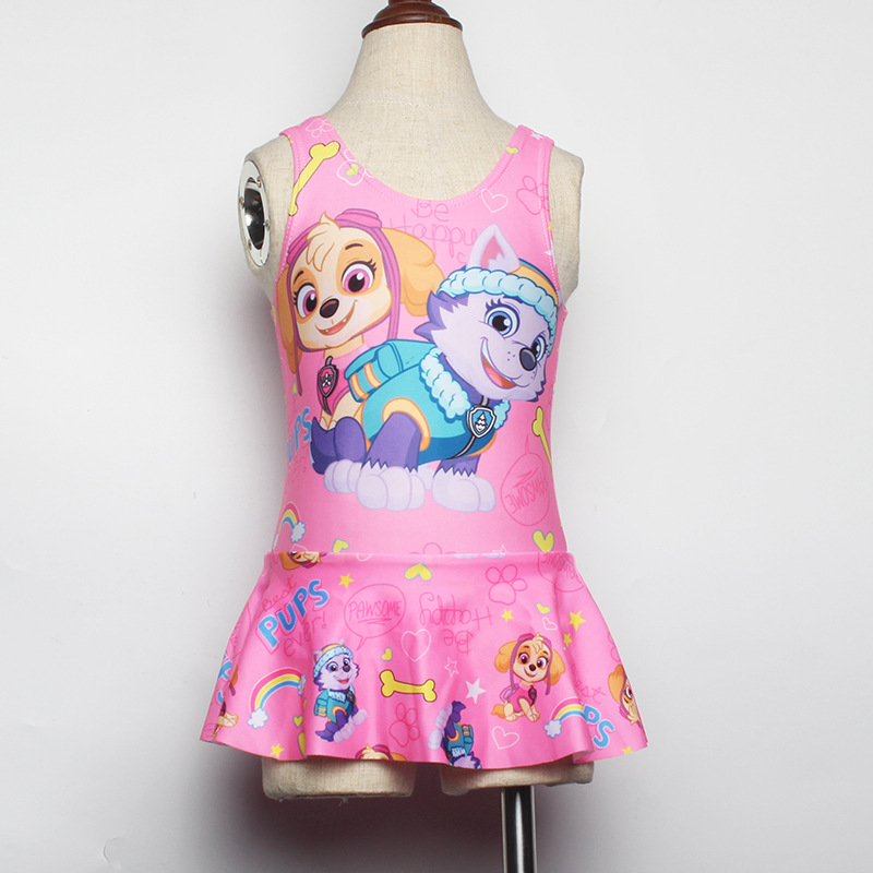Girls Cartoon Swimsuit With Shoulder Straps Fashion Want Team Mock Two-Piece Short Skirt Wading Clothing Medium-small Children